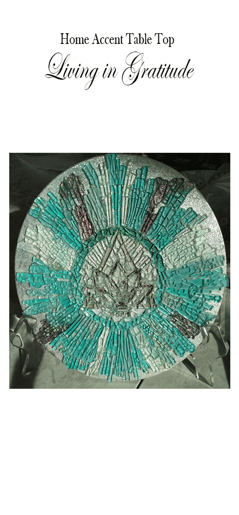 Mosaic Glass Art Living In Gratitude Home or Office Accent