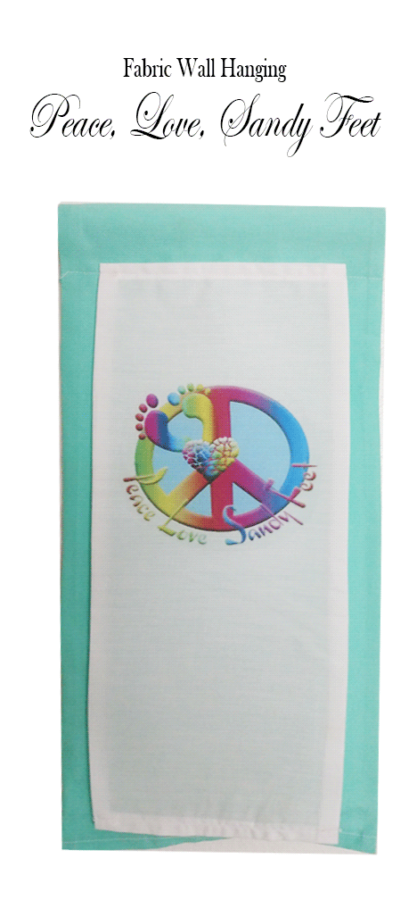 Peace Love Sandy Feet Peace Sign Cloth Wall Hanging